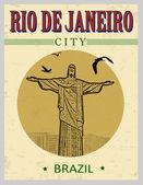 Christus der Erlöser von Rio De Janeiro-Plakat — Stockvektor
