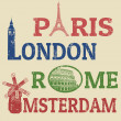 Paris, London, Rome and Amsterdam stamps — Stockvectorbeeld