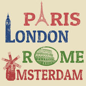 Paris, London, Rome and Amsterdam stamps — Stock Vector