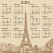 Paris 2014 calendar — Stock Vector