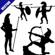 Set of spartan hoplite silhouettes — Stock Vector