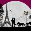 Carriage and lovers at night in Paris — Stock Vector
