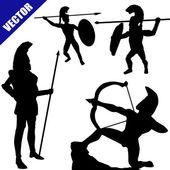 Set of spartan hoplite silhouettes — Stock Vector