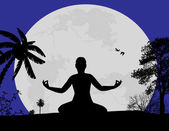 Yoga meditation in lotus pose — Stock Vector