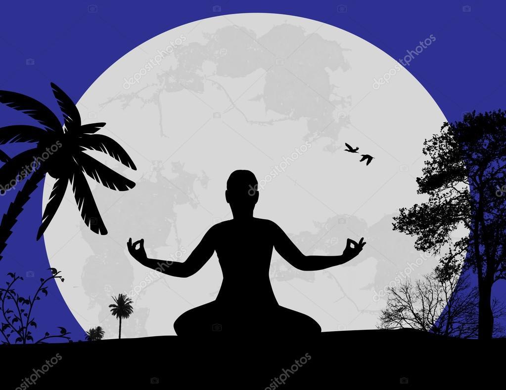 Yoga Silhouette Lotus Yoga meditation in lotus poseYoga Meditation Pose Silhouette