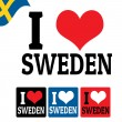 I love Sweden sign and labels — Stock Vector