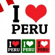 I love Peru sign and labels — Stock Vector