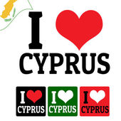 I love Cyprus sign and labels — Stock Vector