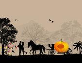 Os amantes e a carruagem de abóbora — Vetorial Stock