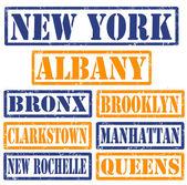 New York Cities stamps — Stock Vector
