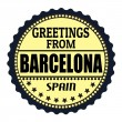 Greetings from Barcelona label — Stock Vector