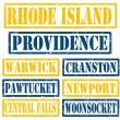 Rhode Island Cities stamps — Stock Vector