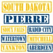 South Dakota Cities stamps — 图库矢量图片