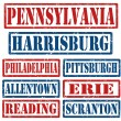 Pennsylvania Cities stamps — Stock Vector