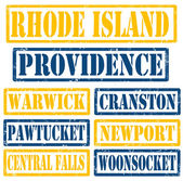 Rhode Island Cities stamps — 图库矢量图片