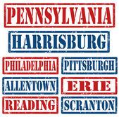 Pennsylvania města razítka — Stock vektor