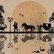 Carriage and lovers at night — Imagens vectoriais em stock