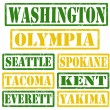 Washington Cities stamps — Stock Vector
