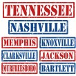 Tennessee Cities stamps — Stock Vector