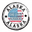 Alaska, The last frontier stamp — Stock vektor