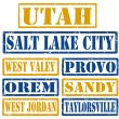 Utah Cities stamps — Stock Vector