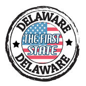 Delaware, The first state stamp — Vetor de Stock