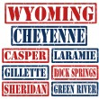 Wyoming Cities stamps — Stock Vector