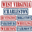 West Virginia Cities stamps — Stock Vector