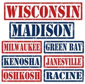 Wisconsin städer frimärken — Stockvektor