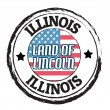 Illinois, Land of Lincoln stamp — Stok Vektör