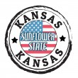 Kansas, Sunflower state stamp — Stock Vector