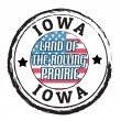 Iowa, Land of the Rolling Prairie stamp — Stok Vektör