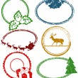 Set of Christmas stamps — Stock Vector