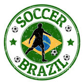 Brazilië voetbal stempel — Stockvector