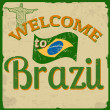 Welcome to Brazil vintage poster — Stock Vector