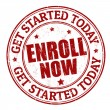 Stock Vector: Enroll now stamp