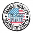 Massachusetts, The Spirit of America state stamp — Stock Vector