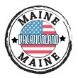 Maine, Vacationland state stamp — Stock vektor