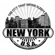 New York ( The city that never sleeps) stamp — Stok Vektör
