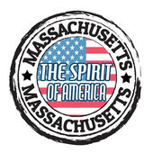 Massachusetts, The Spirit of America state stamp — Wektor stockowy