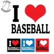 I love Baseball sign and labels — Vettoriali Stock