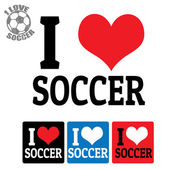 I love Soccer sign and labels — Stock Vector