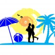 Romantic couple on the beach — Stock Vector #36285559