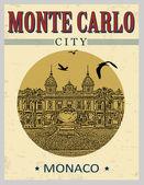 Monte Carlo vintage poster — Stock Vector