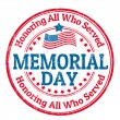 Memorial day stamp — Vector de stock