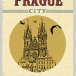 The old town square from Prague poster — Stock Vector