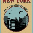 New York ( The city that never sleeps) poster — Stock Vector