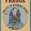 Prague ( The city of Hundred Spires) poster — Stock Vector