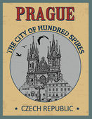 Prague ( The city of Hundred Spires) poster — Stock Vector