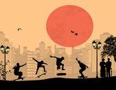 Skater silhouettes — Stock Vector